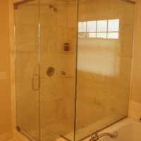 Framed Glass Shower with Brushed Nickel Hardware