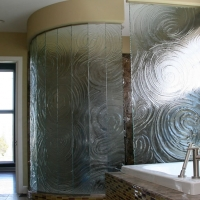 Open Glass Shower with Decorative Patterns