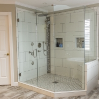 Neo-Angle Glass Shower with Chrome Hardware